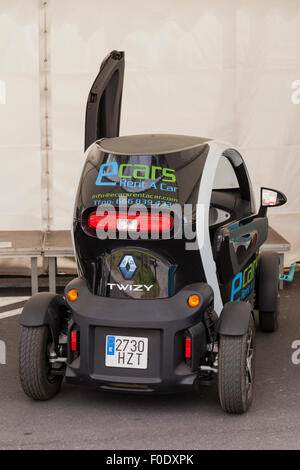 Renault Twizy electric car at a demonstration day for sustainable transport in Adeje, Tenerife, Canary Islands, - Stock Photo