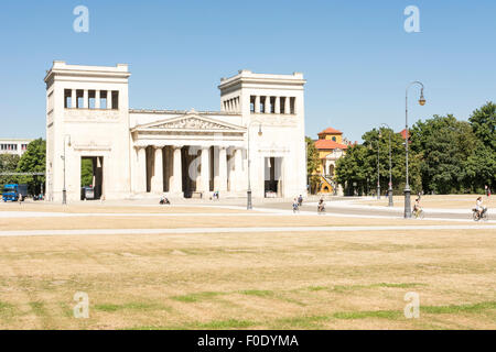 MUNICH, GERMANY - AUGUST 3: Tourits at the Koenigsplatz in Munich, Germany on August 3, 2015. - Stock Photo