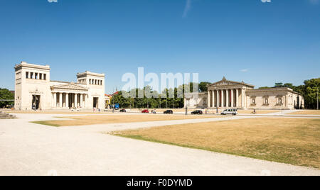 MUNICH, GERMANY - AUGUST 3: Tourits at the Koenigsplatz in Munich, Germany on August 3, 2015. During the third reich - Stock Photo