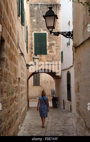 Passageway in the old town, Ciutadella, Menorca, Balearic Islands, Spain, Europe - Stock Photo