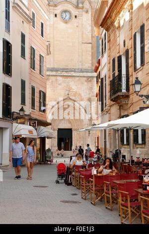 Cafe outside the Cathedral Santa Maria de Ciutadella, Ciutadella, Menorca, Balearic Islands, Spain, Europe - Stock Photo