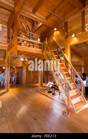 Kanazawa Castle in Japan. Wooden interior of the restored Gojikken Nagaya, and staircase leading to the Hashizume - Stock Photo