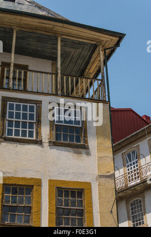 narrow streets in the historic town centre of Viseu, Portugal - Stock Photo