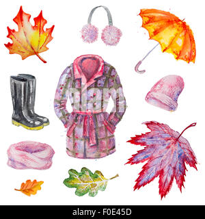 Watercolor isolated autumn accessories - Stock Photo