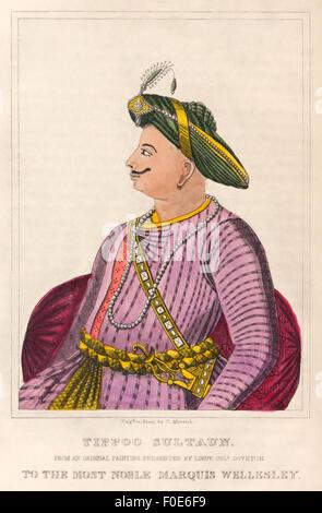 Tipu Sultan (1750-1799), eldest son of Sultan Hyder Ali of Mysore (see image F0E6FA) and ruler of the Kingdom of - Stock Photo