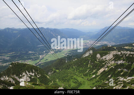 The view from the cable car that takes people to Zugspitze, the tallest mountain peak in Germany. - Stock Photo