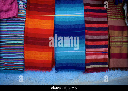 Carpets and fabrics in the souk of Marrakesh, Berber culture, Morocco - Stock Photo