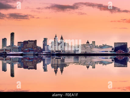 Liverpool skyline with a panoramic view of all the famous landmarks on the bank of Mersey river. - Stock Photo