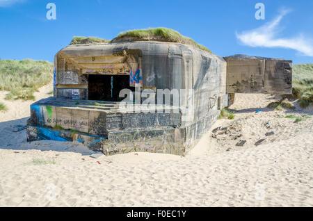 German Second World War Two bunker (Blockhaus) on Bleriot-Plage beach - Stock Photo