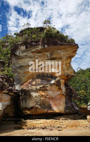 Bako National Park, sandstone cliffs on the coast, South China Sea, Sarawak, Borneo, Malaysia - Stock Photo