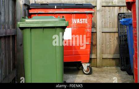 Commercial waste bins in a business park. - Stock Photo