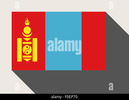 Mongolia in flat web design style. - Stock Photo
