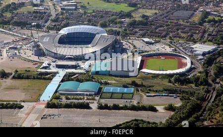 aerial view of Manchester City Etihad football Stadium and Manchester Regional Arena, UK - Stock Photo