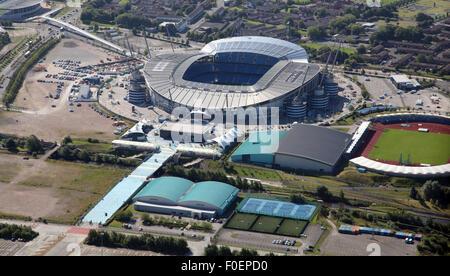 aerial view of Manchester City Etihad football Stadium, UK - Stock Photo