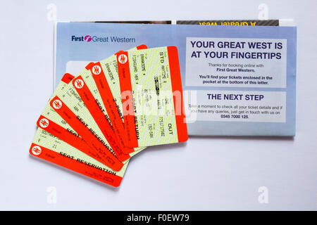 train tickets for train trip between Branksome and Fishguard Harbour - Stock Photo