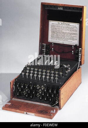 espionage, German 'Enigma' machine, used for the encryption and decryption of secret message, in service 1923-1945, - Stock Photo