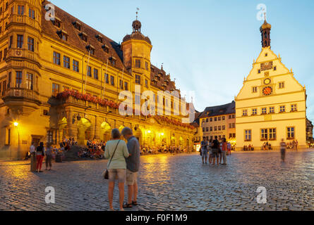 Marktplatz  Market Square, Rothenburg ob der Tauber, Franconia, Bavaria, Germany - Stock Photo