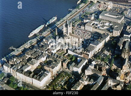geography / travel, Germany, Cologne, city view / city views, view over the Rhine riverbank with the church St. - Stock Photo