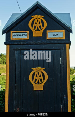 An old AA telephone box on the outskirts of Aysgarth and has now become a quirky tourist attraction - Stock Photo