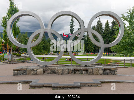 Olympic Rings from the 2010 Winter Olympic Games, in Whistler Village, Whistler, BC, Canada - Stock Photo