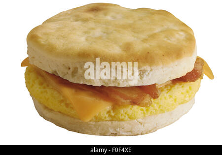 Breakfast Sandwich, Biscuit, Cheese, Scrambled Egg, Bacon - Stock Photo