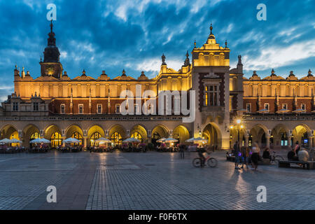 The Krakow Cloth Hall at night. The building is located of the Main Market Square, Krakow, Lesser Poland, Poland, - Stock Photo