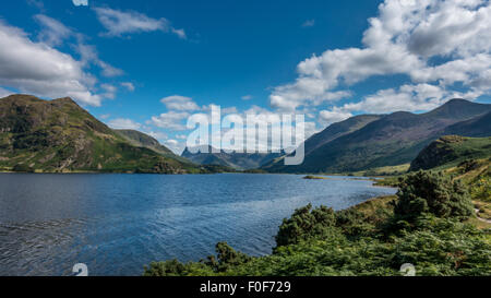 Fleetwith Pike and The High Stile massif from the north shore of Crummock Water on a beautiful summer's day