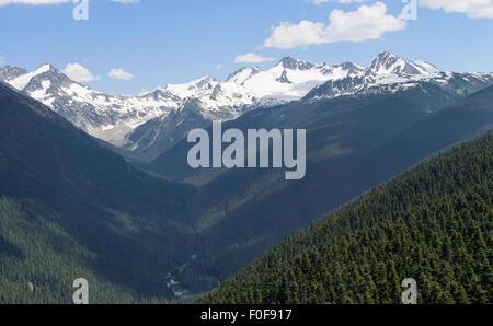 View from the PEAK2PEAK gondola connecting Whistler Mountain and Blackcomb Mountain, Whistler, BC, Canada. - Stock Photo