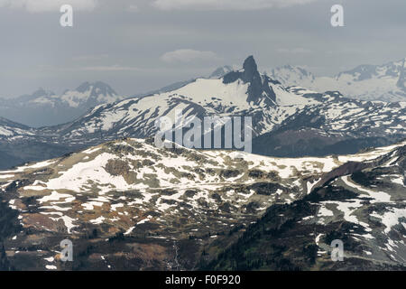 Black Tusk Mountain seen from near the Horstman Hut on Blackcomb Mountain, Whistler, BC, Canada - Stock Photo