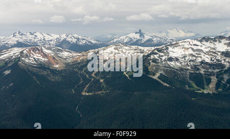 Alpine panorama with Black Tusk Mountain seen from near the Horstman Hut on Blackcomb Mountain, Whistler, BC, Canada - Stock Photo