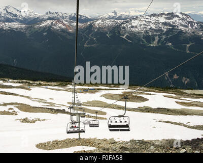 View descending from Horstman Hut on the 7th Heaven Express chairlift, Blackcomb Mountain, Whistler, BC, Canada - Stock Photo