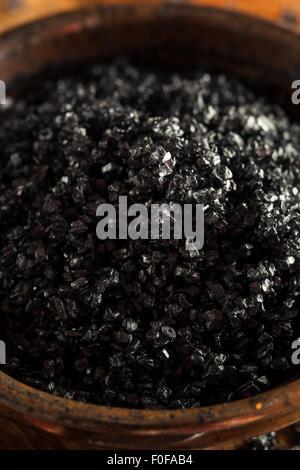 Black Hawaiin Lava Sea Salt in a Bowl - Stock Photo