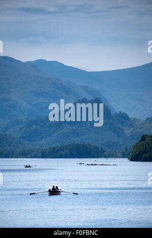 rowing boats on Derwentwater at Keswick in the Lake District, Cumbria, UK - Stock Photo