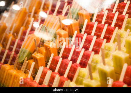 Many ice lollies, different flavors at La Boqueria, Barcelona - Stock Photo