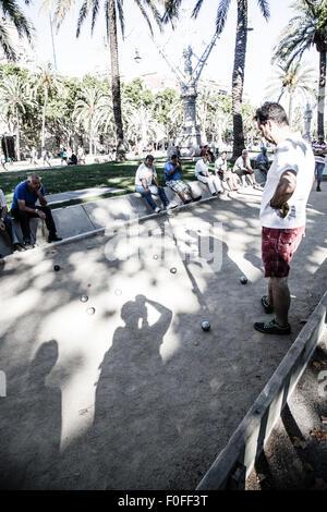 People playing pétanque at Parc de la Citadella, Barcelona - Stock Photo
