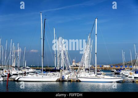 Boats moored in the seaside resort of Howth near Dublin Ireland. - Stock Photo