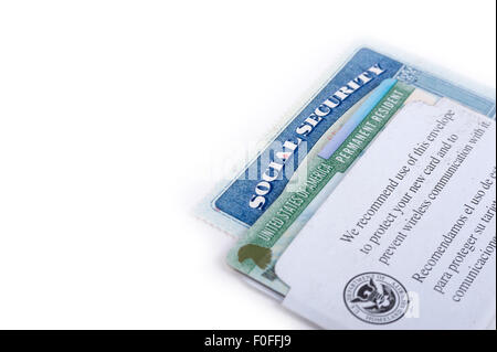 United States of America social security and green card on white background - Stock Photo