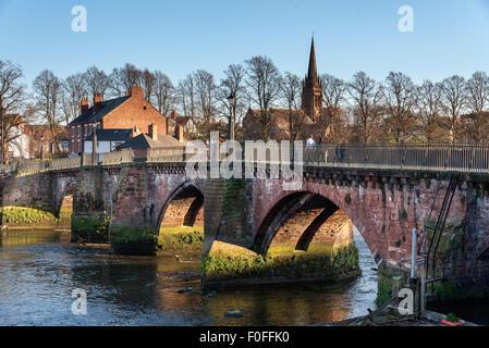 Grosvenor bridge is a stone arch bridge in Chester, UK, spaning over river Dee. - Stock Photo