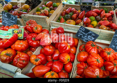 vegetables and fruits at a Saturday market in Beaune, Dordogne, France - Stock Photo