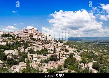 View over the Perched Hilltop Village of Gordes in the Luberon Regional Park Vaucluse, Provence, France, Europe - Stock Photo