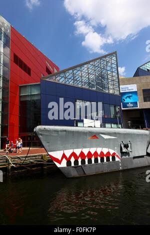 USS Torsk (a World War II Tench class submarine) and National Aquarium , Inner Harbor, Baltimore, Maryland. USA - Stock Photo