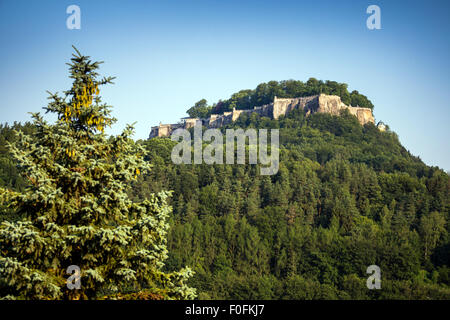 Fortress Koenigstein on hilltop, Saxonian Swiss, Saxony, Germany, Europe - Stock Photo