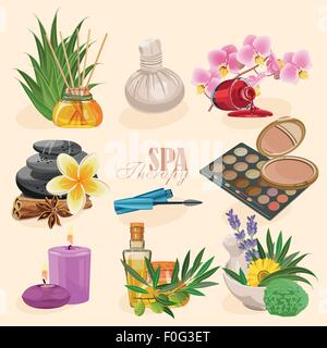 Vector set of icons spa in retro style - Stock Photo