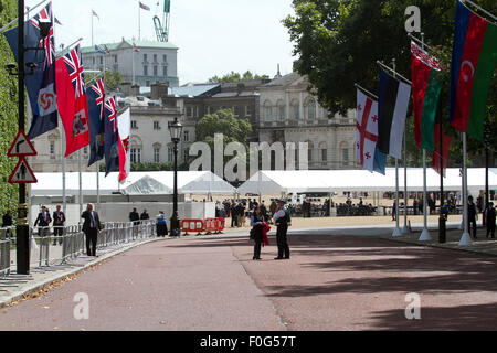 Westminster, London, UK. 15th Aug, 2015. British war veterans arrive for the VJ70 ceremony celebrations at Horse Guards Parade Credit:  amer ghazzal/Alamy Live News Stock Photo