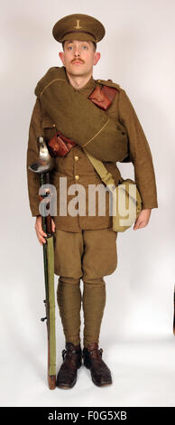 A Great War uniform as worn by British cavalry hussar soldiers  1914-1918. - Stock Photo