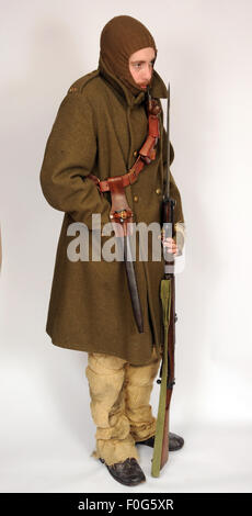 A Great War uniform as worn by British cavalry hussar soldiers fighting in the trenches during winter 1914-1918. - Stock Photo