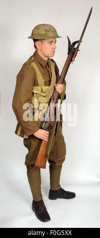 A Great War uniform as worn by British royal navy sailors fighting in the trenches as infantry 1916-1918. - Stock Photo