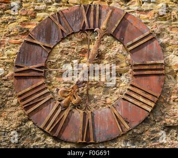 Clock on wall in Zagreb, the capital of Croatia - Stock Photo