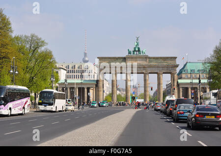 Brandenburg Gate, Berlin, Germany, famous tourist attraction and benchmark, City of Berlin - Stock Photo