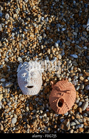 Deal, Kent, UK, Sunday 9th August 2015. Cabbo masks on Deal beach. - Stock Photo